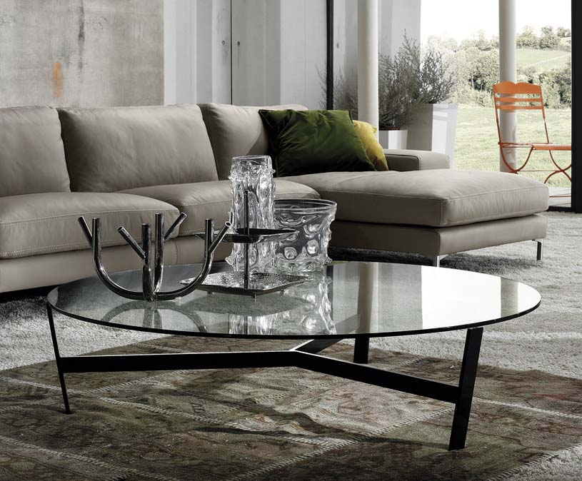 Glass round coffee tables