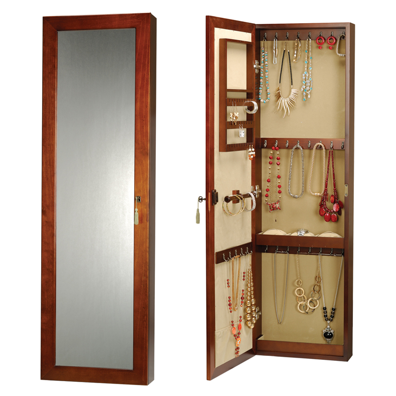 Jewelry armoire with lock and key