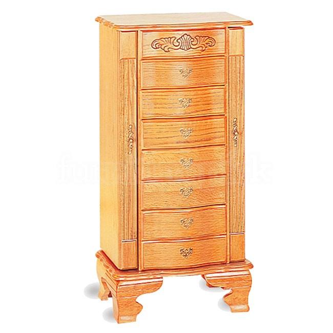 Light oak jewelry armoire