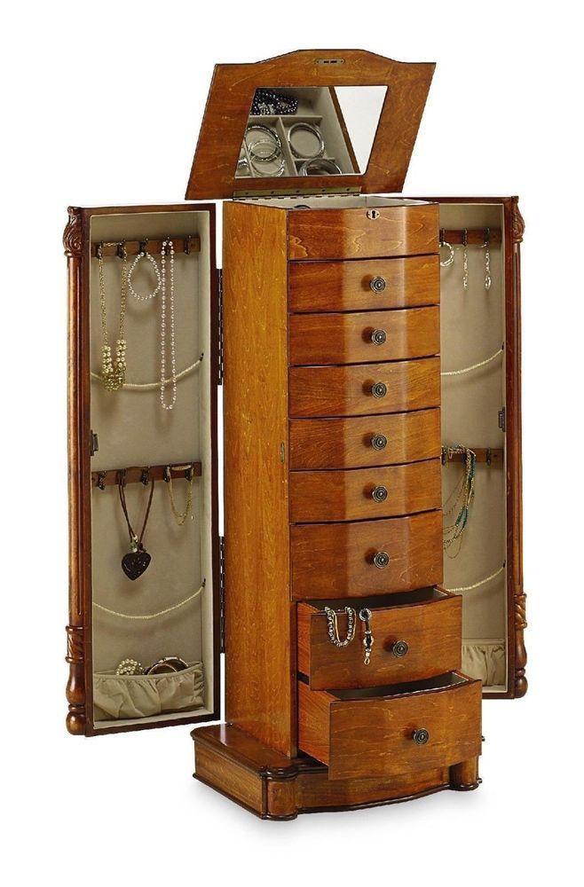 Louis xvi honey oak jewelry armoire