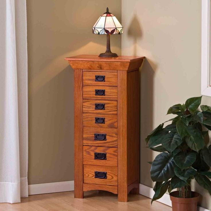 Mission oak jewelry armoire