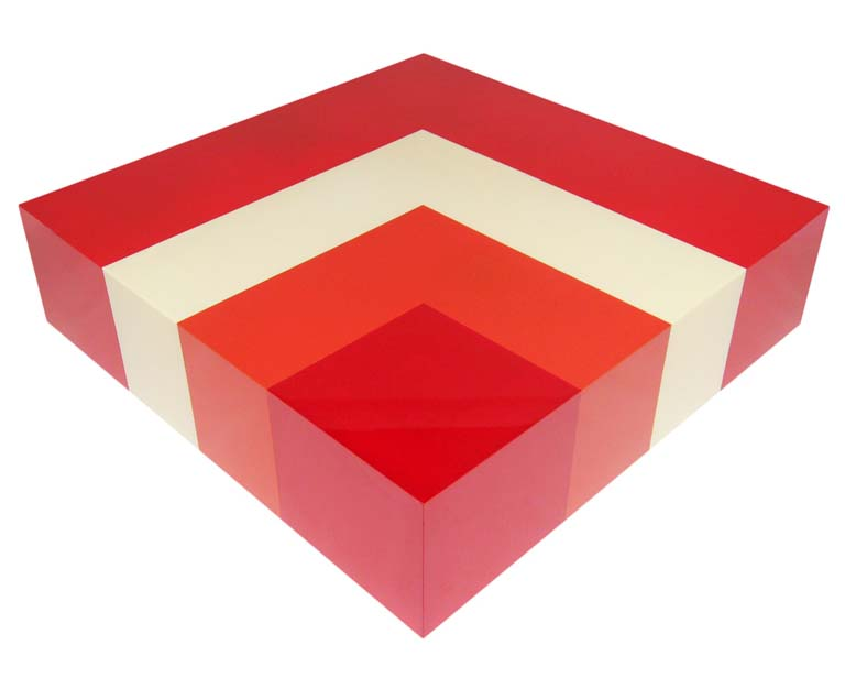 Red acrylic coffee table