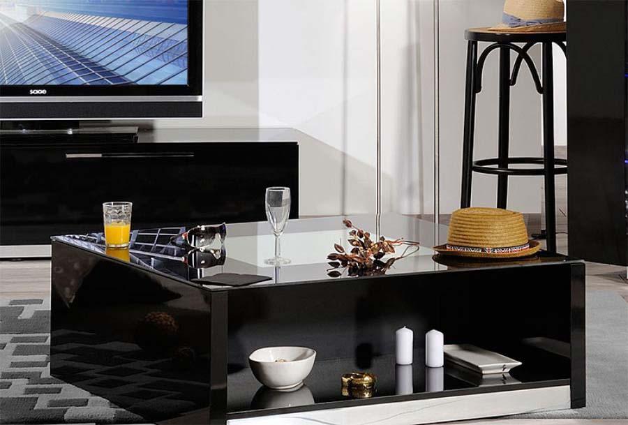 Black coffee table glass top
