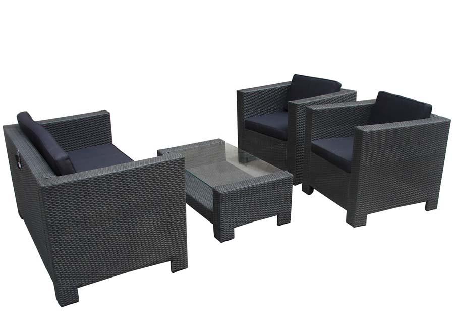 Black rattan outdoor coffee table