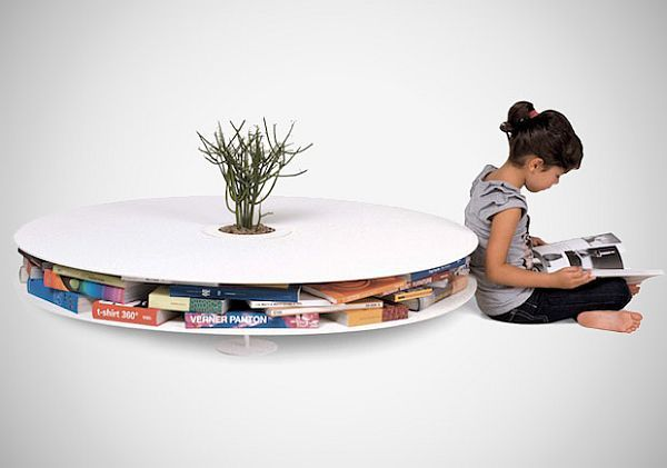 Coffee table with book storage