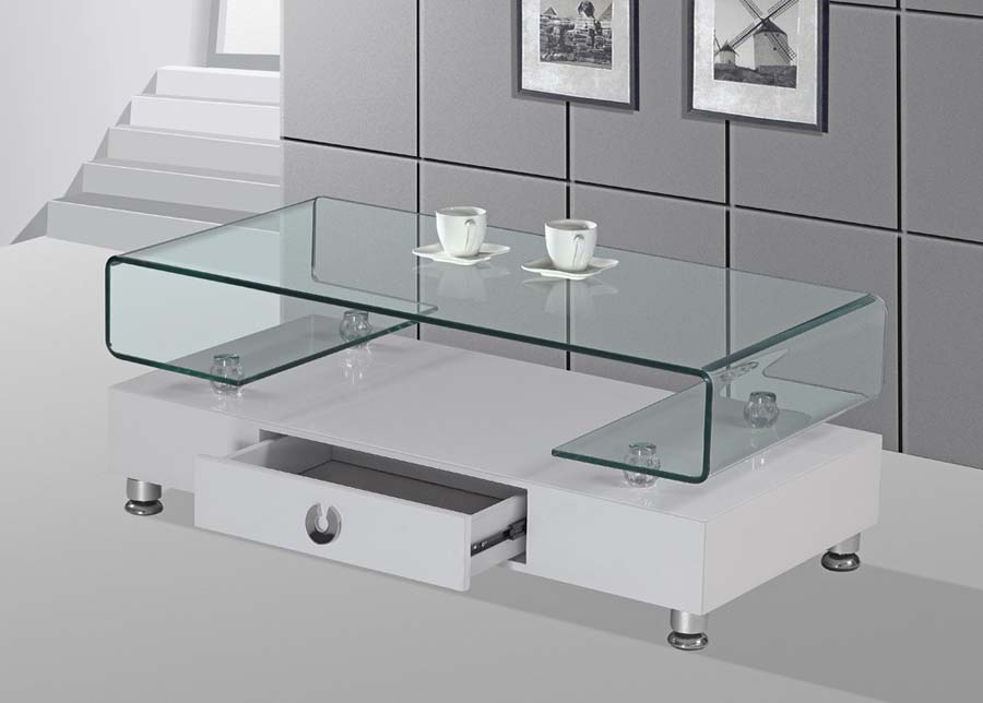 Coffee table with drawers glass top