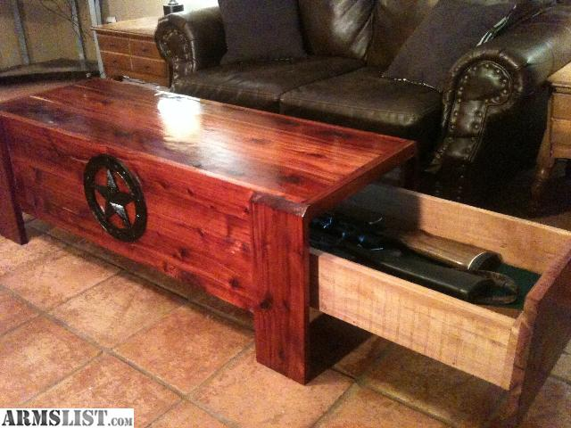 Coffee table with gun storage
