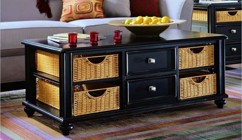 Coffee table with wicker basket storage