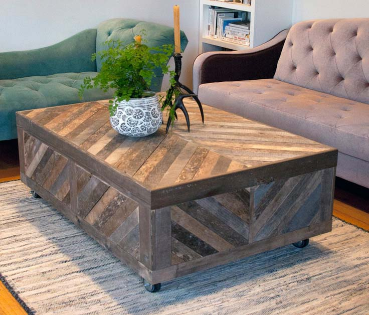Design coffee table reclaimed wood