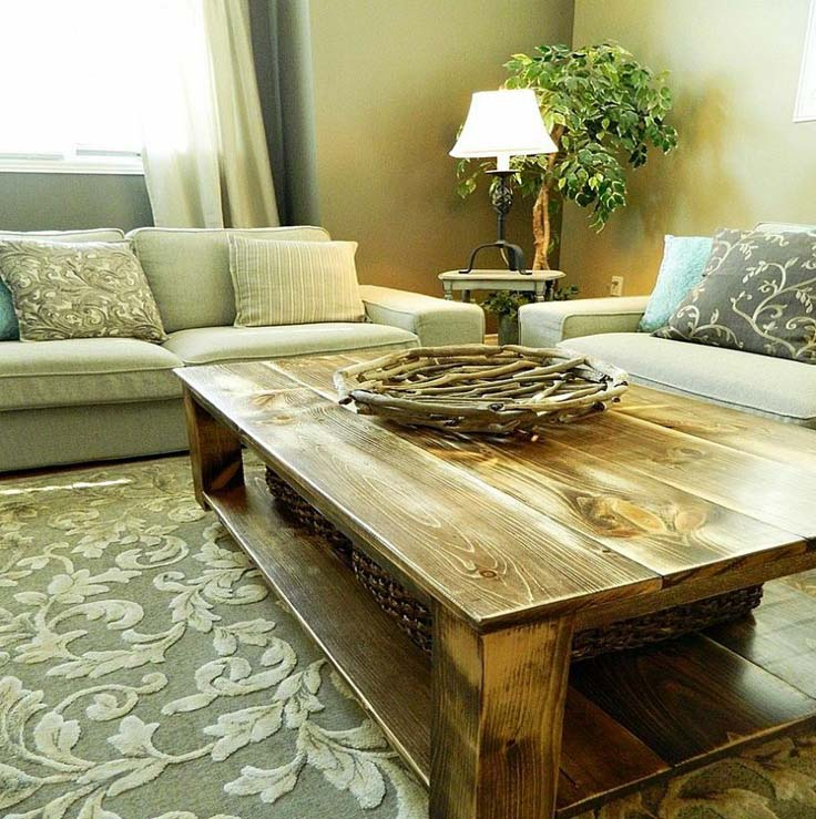 Rustic coffee table with storage
