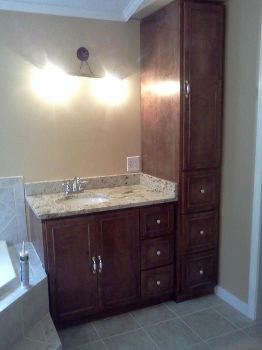 bathroom linen cabinet with vanity