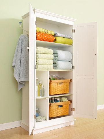 bathroom linen closet organizers