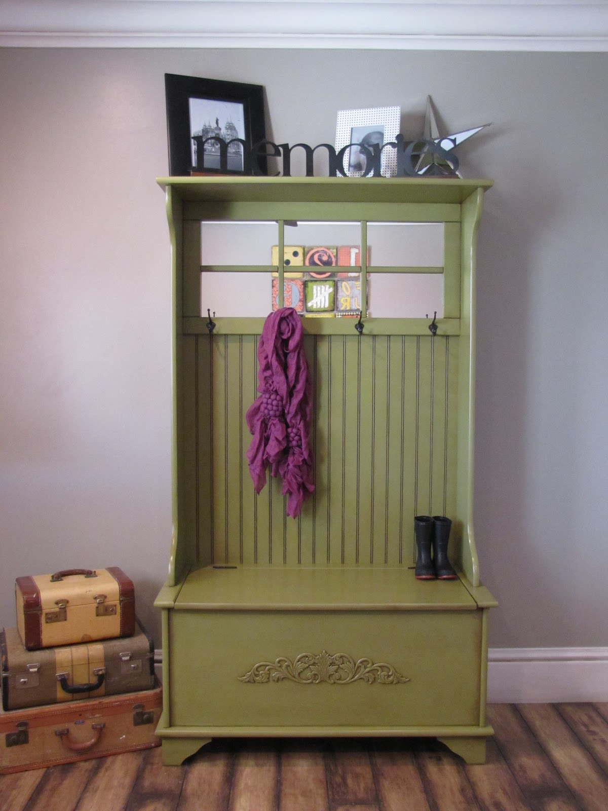 bench seat with storage and coat rack