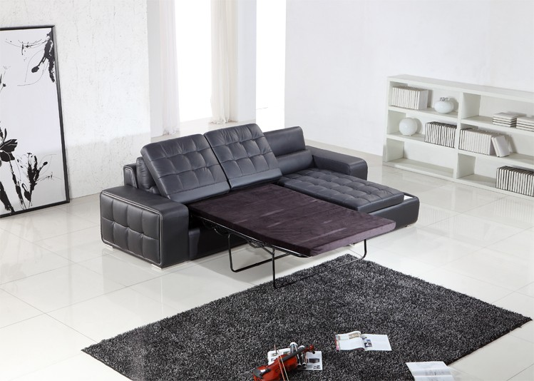 black leather pull out loveseat