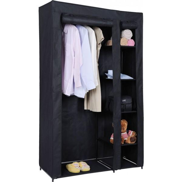 black portable wardrobe closet