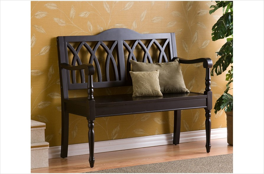 black wood bench with back