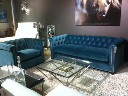 blue leather chesterfield loveseat