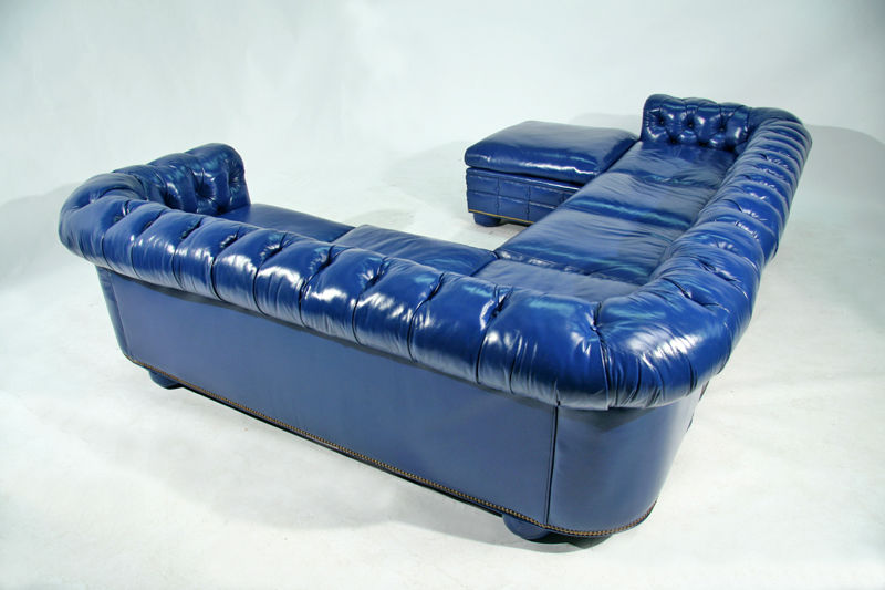 bright blue leather chesterfield sectional sofa