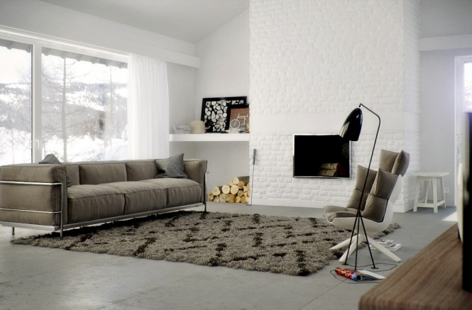 brown leather couch with grey rug