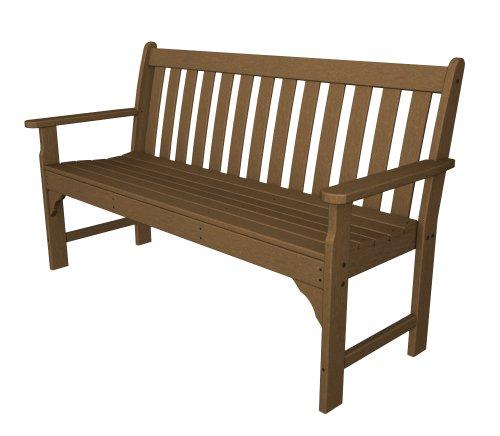brown plastic storage bench