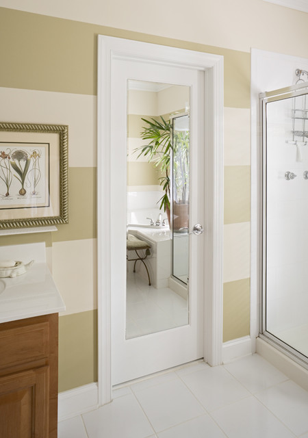 closet door with mirror inset