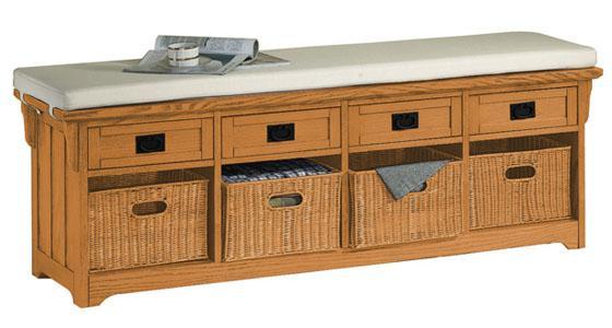 craftsman storage bench with wicker baskets