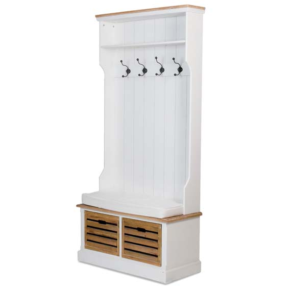 entryway bench seat with hat coat rack storage