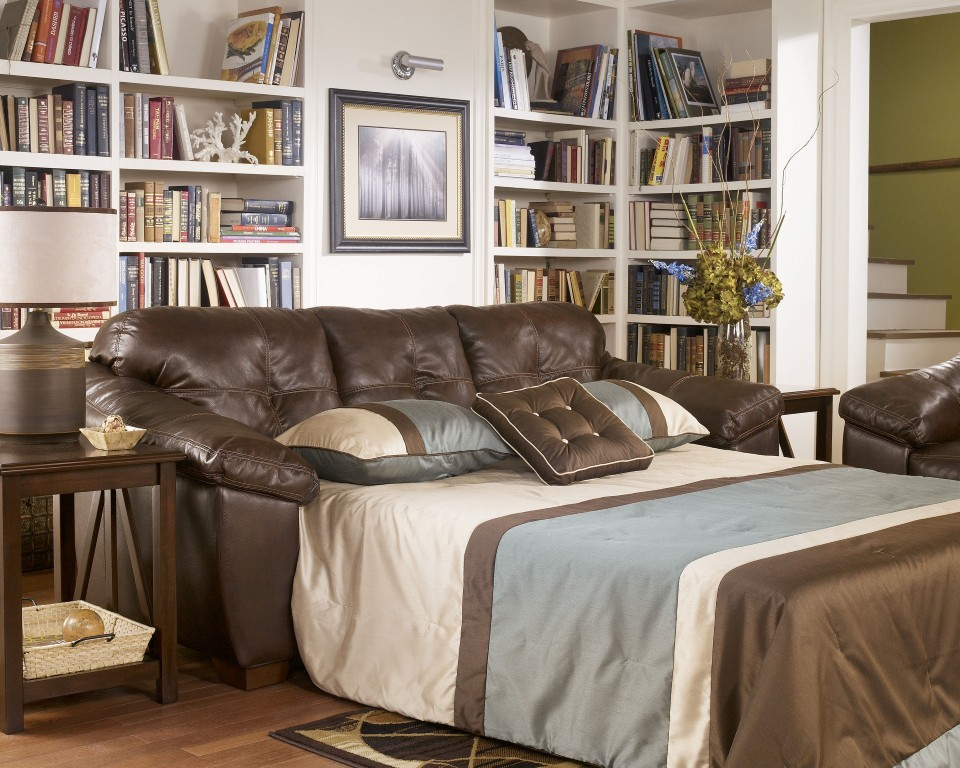 faux leather sleeper sofa queen