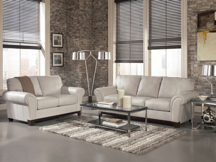 grey leather couch set