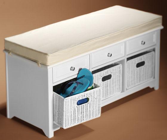hampton storage bench with baskets white