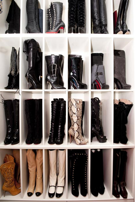 how to make boots stand up in closet