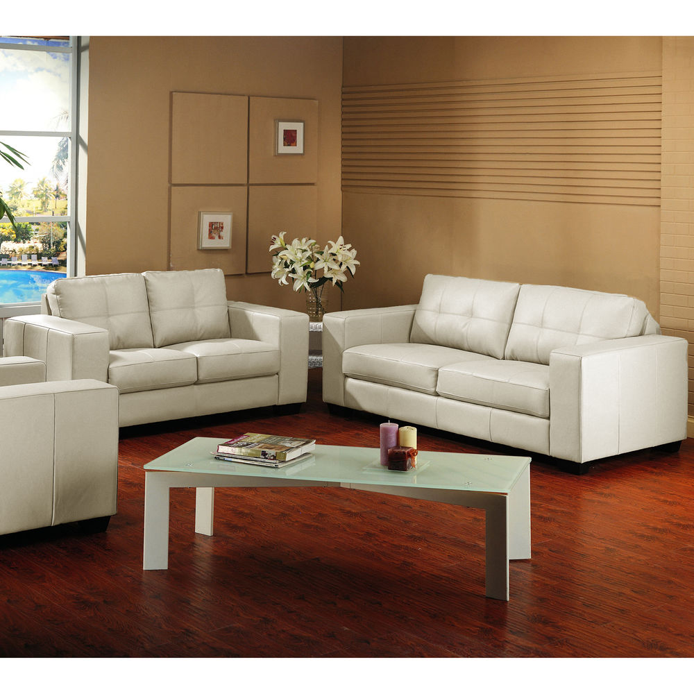 ivory leather couch and loveseat