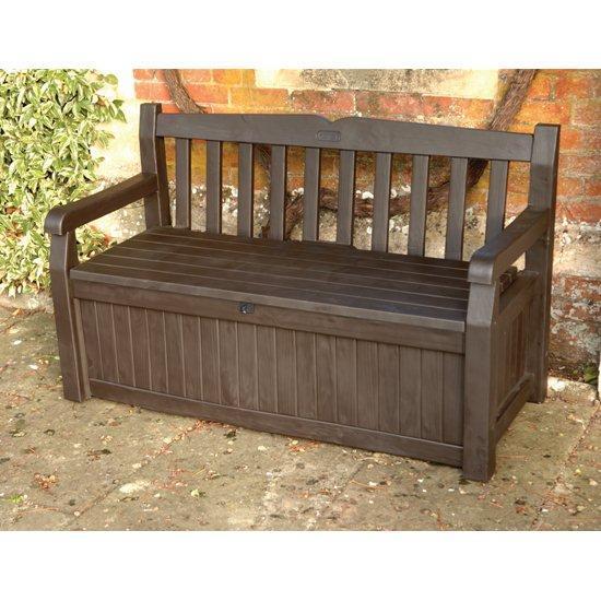 keter plastic garden bench with storage