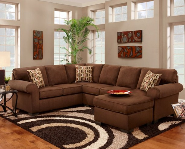 Brown pit group sectional sofa.