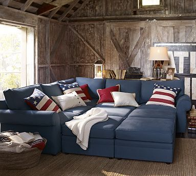 Stylish Pottery Barn modular sofa, blue color.
