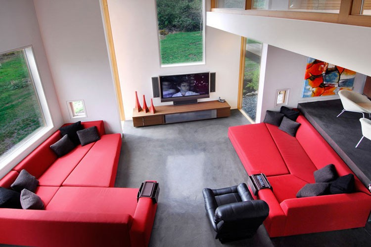 red and black corner sofa