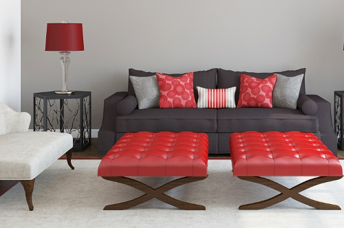 red and black couch pillows