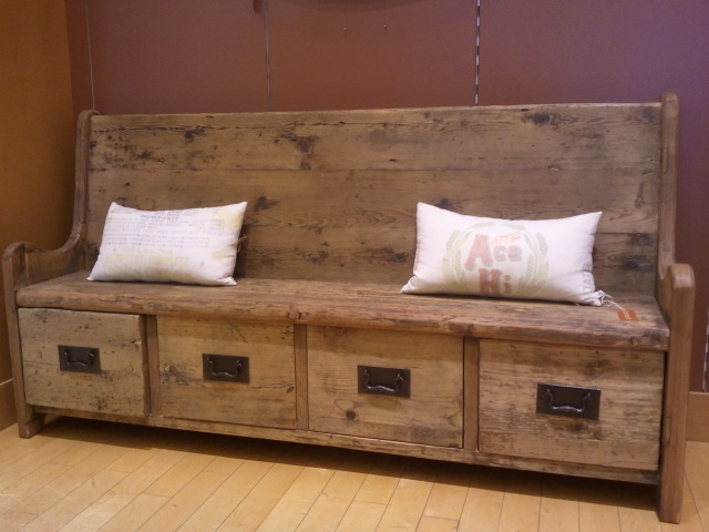 rustic bench with shoe storage