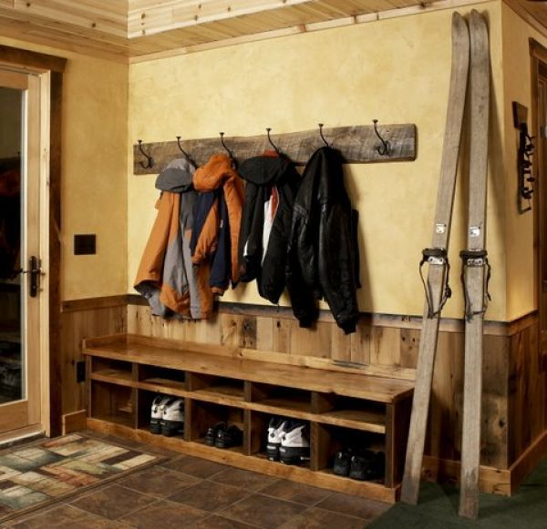rustic entry bench with shoe storage