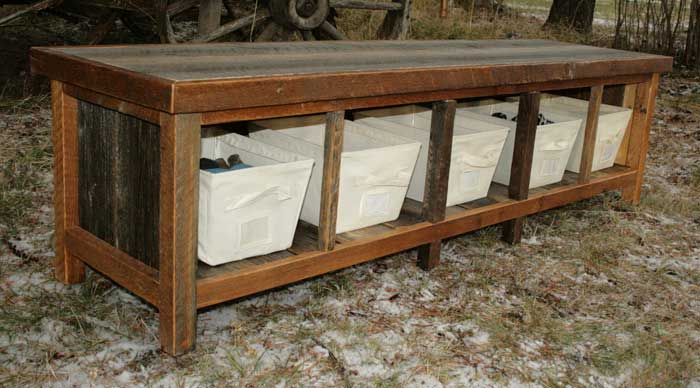rustic entry storage bench