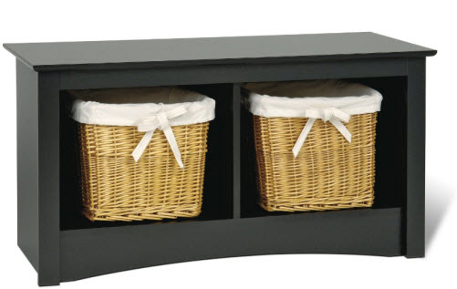 small black entry bench