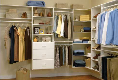 white wooden closet organizers