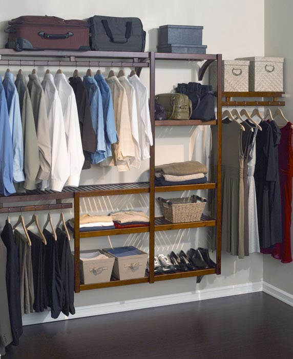 wood closet organizer system