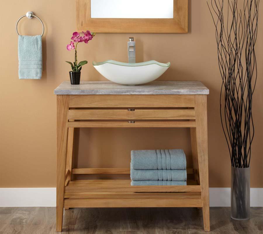 36 inch teak bathroom vanity