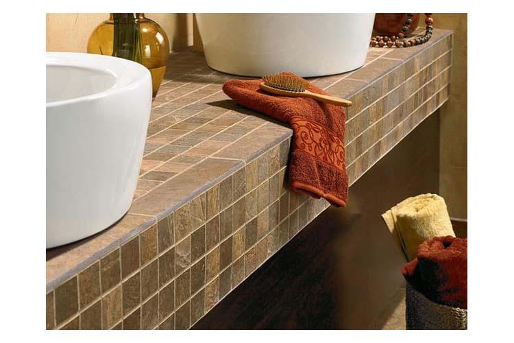 Bathroom vanity with tile top