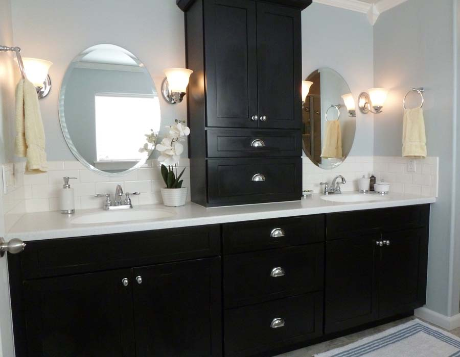 Black bathroom vanities and cabinets