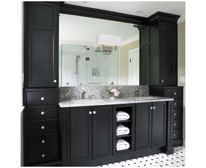 Black bathroom vanity cabinet