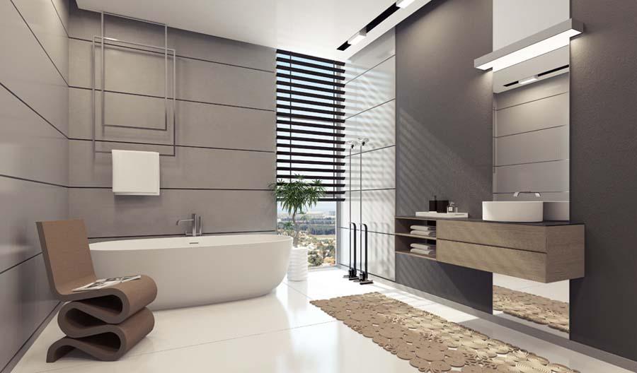 Gray oak bathroom vanity