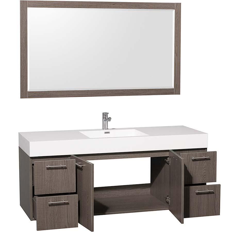 Grey oak bathroom vanity
