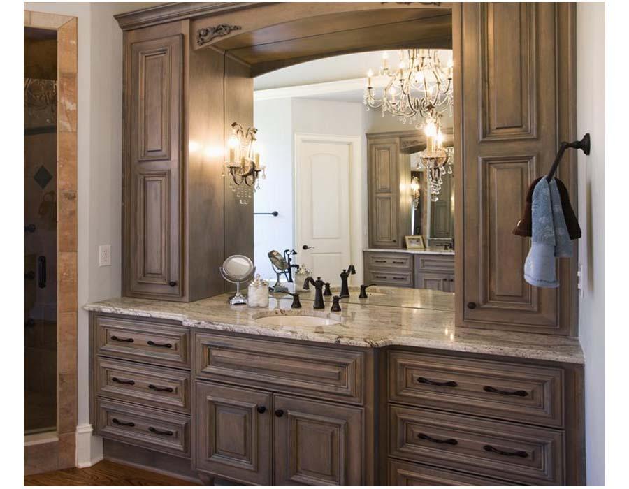 Natural wood bathroom vanities